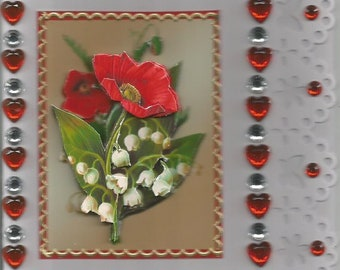 Handmade, women and flowers, 3D card category flowers: Lily, poppy - birthday, mother's day, May 1st, luck