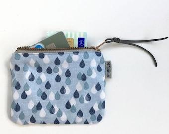 coin purse little zipper pouch coin pouch small wallet vegan boho zipper purse tiny wallet travel pouch retro blue drops purse byMlous