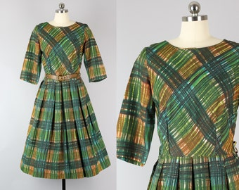 1950s to 60s Green Brown Plaid Day Dress