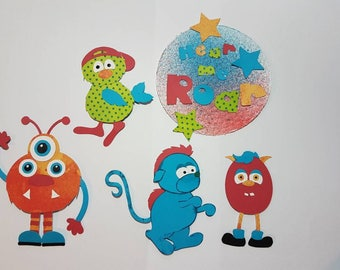 Hear me roar monster title die cut set with 4 monsters for scrapbooking and card making