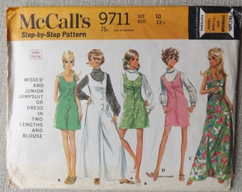 Dress or Bell Bottom Jumpsuit in Two Lengths, Blouse with Bias Rolled Collar in Size 10 Vintage 70s McCall's Sewing Pattern 9711