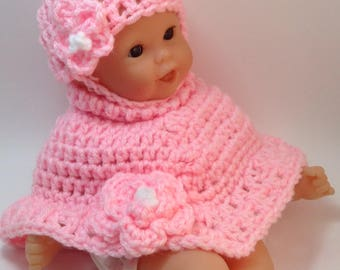 12 Inch Doll clothes, Poncho and Hat, Gifts for kids,Easter Gifts,winter Doll clothes,clothes for 12 inch dolls.Pink Set Ready to ship!