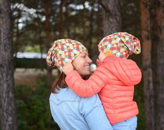 Mommy And Me Hats, Kids Slouchy Beanie, Toddler Slouchy Beanie, Cotton Kids Beanie, Spring Kids Hat, Reversible Kids Slouchy Beanie, Red Hat