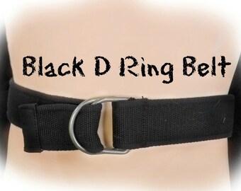 D-Ringgürtel, breit D Ring Gürtel - schwarzem Canvas Gürtel - schwarz unisex - schwarz lässig Gürtel - schwarz, Größe bis zu 37 Zoll, # B 22