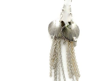 Silver Shell Chain Tassel Dangle Earrings