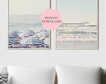 Beach print set, Beach print set, Beach wall decor, Instant download Beach Photography, Blue wall decor, Large wall print, Pink print