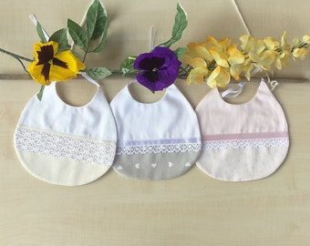 Baby bib, boho chic bibs, french bibs, pretty drool bib, baby gift, birthday bib