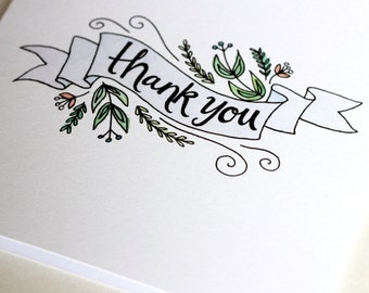 Floral Banner Illustrated Thank-You Card