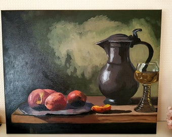"Original Still Life Oil Painting on Canvas 18""x14"" Realism"