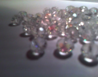 Beautiful Rondelle Faceted Crystal Beads -Clear iridescent -6mm-30 pieces-for jewelry making