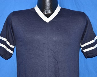70s Deadstock Blue & White Striped Vintage V-Neck Jersey Blank t-shirt Small