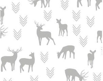 Deer Baby Bedding - Changing Pad Covers / Fitted Crib Sheets / Mini Crib Sheets / Woodland Nursery Bedding /White Gray Nursery /Crib Bedding
