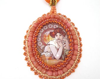 Alfons Mucha necklace pendant, Mucha Neckalce, Art necklace, Art Nouveau jewelry, Bead embroidered pendant, Beaded jewelry