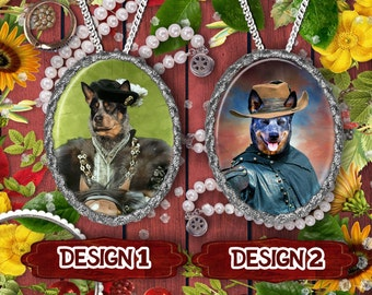 Australian Cattle Dog Jewelry Red Heeler Dog Blue Heeler Dog Custom Pet Portrait from Photo Dog Necklace Cattle Dog Lover Custom Dog Pendant