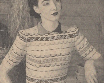 1940's Stitchcraft Knitting Pattern for a Simple Fair Isle Jumper - Wartime Sweater - Vintage Knitting