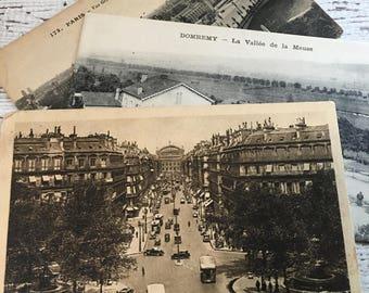 Antique PARIS Postcards ~ Set of 3 ~ Sepia Tone~Scrapbooking~ Altered Art~ Collage~ Mixed Media~