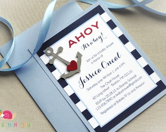 Ahoy Baby Shower Invitations · A2 LAYERED · Navy Light Blue and Red · Baby Shower | Baby Sprinkle | Nautical | Anchor
