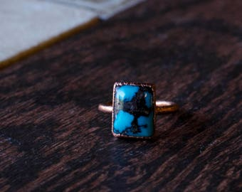 Deep Blue Turquoise + Copper Ring Size 8