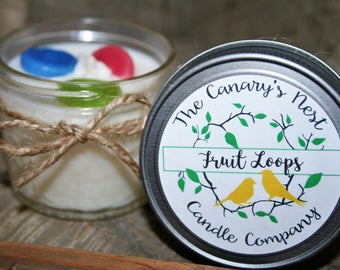 Fruit Loops Scented Soy Candle, Cereal Candle, Mason Jar Candle, Fruit Loops Gift, Man Candles, Fruity Candles, Childhood Cereal Candle Gift