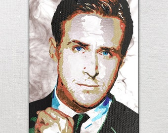 Downloadable Ryan Gosling poster, hand painted, original art, painting, print, celebrity, gift, scrapbook, decor