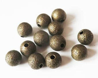 20 x 8mm BRONZE brushed metal beads