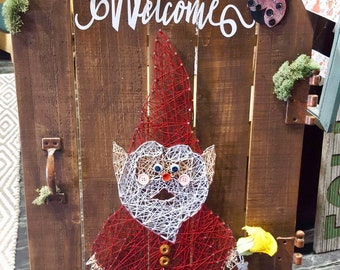 One of a kind, Freestanding String Art Welcome Gnome Door Sign