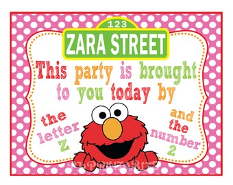 This Party Is Brought To You by...Elmo Sesame Street sign- Customized Digital File
