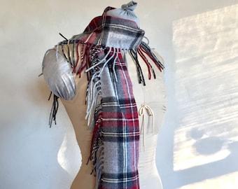 Blanket Fringed Scarf Merino Wool Super Soft Grey Black Red Stewart Plaid