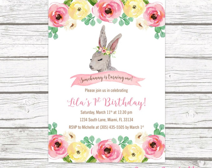 Bunny Birthday Invitation, Somebunny is One Birthday Invitation, First 1st Birthday Invitation Girl, Easter Birthday Invitation Printable