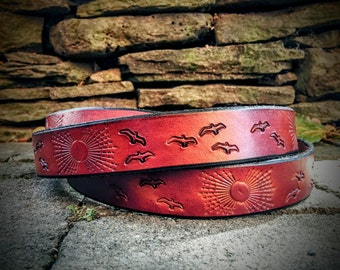 Tooled Sunbeams & Birds Handmade Leather Belt