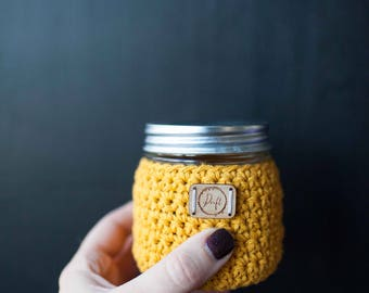 Ready to ship! Mini Mason jar & crocheted sleeve // featured in the color Mustard