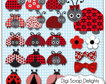 2 Dollar Sale! Lady Bugs Clip Art  in Red and Black for Digital Scrapbooking, Card Making, Backgrounds