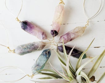 Boho Airplant Hanger, One Fluorite Crystal Hanging Air Planter, Gift for Mother, Gardener, Boho Goddess