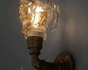Skull Beer mug Wall Light, Sconce. Lamp with vintage style Edison bulb.
