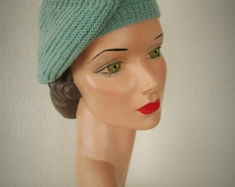 Hand Knit Beret Vintage Style Cruising Cap 1930s Downton Abbey Hat Ready to Ship