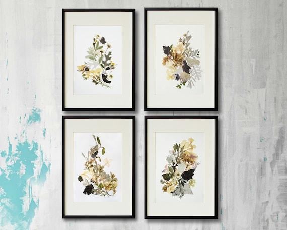 Framed Art: Set Of 4 Framed Prints Plant Art Contemporary Art Dry Flower