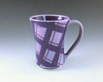 MADE-TO-ORDER Mug, Ceramic Coffee Mug, Purple Porcelain Mug, Ceramic Coffee Cup, Large Plaid Mug, Tea Mug, Wheel Thrown Pottery Mug