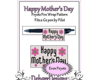 Bead Pattern Peyote(Pen Wrap/Cover)-Happy Mother's Day