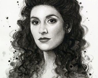 Deanna Troi Star Trek Portrait Watercolor Painting Giclee Art Print
