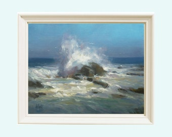 Seascape painting giclee, Oil painting, Ocean Waves, Wall decor, Beach decor, Painting,  Giclee Print, Art Print, Original Maine Art