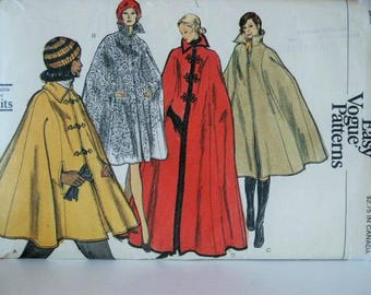 UNCUT Vintage 1970's Classic Very Easy Vogue 4 Lengths Coat Cape Sewing Pattern Size 8 10 Small