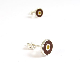 Sterling Silver Earrings, Chocolate and Mustard, Circles, Ear Studs, Modern, Contemporary, Minimal
