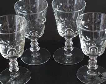 Vintage, Set of Four Wine Glasses