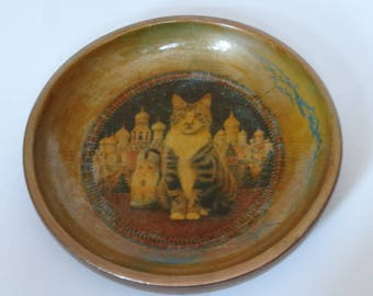 Vintage Wooden Cat Designer Decoupage Wood Bowl by Kensleigh
