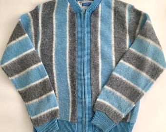 Vintage 1960s Sears Boys' Blue Gray Stripe Zip Cardigan Size 12