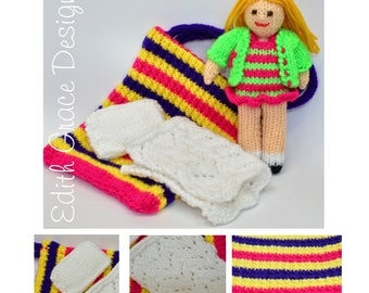 Rag Doll Pattern, Doll Knitting Pattern, Toy Knitting Pattern, Knit Doll, Doll Clothes, Doll Patterns, Doll Bed, Knit Toy, Yarn Doll Pattern