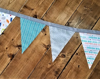 Dream Big Little One Dino Pennant Banner, Bunting