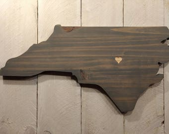 Rustic North Carolina State Sign/Plaque, Add a heart to your location, Rustic Home Decor, Tar Heel, Charlotte, Greensboro, Hornets, Panthers