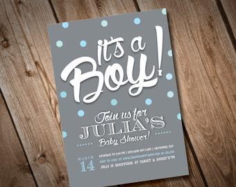 DIY Printable It's a Boy Baby Shower Invitation