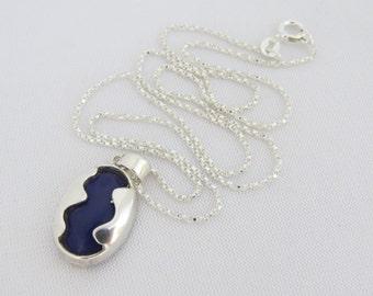 Vintage Sterling Silver Lapis Lazuli Square Box Link Chain Necklace Pendant 18''